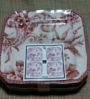 NEW 222 Fifth Adelaide Toile Birds Appetizer Plate Set of 4 New tag