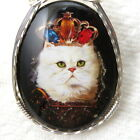 Queen Cat Black Glitter Glass Cameo Pendant 925 Sterling Silver Jewelry