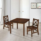 eHemco 3 Piece Kids Table and 2 Chairs Set Solid Hard Wood Repacked