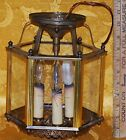 Vintage Ceiling Mount Lamp Brass Etched Glass, 3 candles