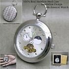 Mechanical Tourbillon Pocket Watch Stainless Steel Men Sun Moon on Chain Box P2