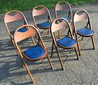 Set Of 6 Vintage Antique Solid Wood Wooden Funeral Folding Chairs