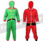 Elf Onesie Santa Onesie All In One PJs Hood Gift Xmas Lounge Chill Relax Light