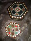 Vtg Spanish Marquetry Trinket Jewelry Music Box Wood Lacquer Inlay Mirror