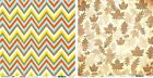 Bazzill Basics Candy Corn Chevron Scattered Leaves Scrapbook Paper 1 sheet