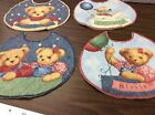 BLUE JEAN TEDDY ROUND CUT QUILTED  LINED BABY BIBS 4 IN A SET