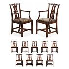 Eleven Chippendale Carved Mahogany Antique Dining Chairs, 18th/19th Century