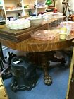 ANTIQUE VINTAGE RJ HORNER BROTHERS ERA OAK DINING TABLE WITH LIONS HEADS AND CLA