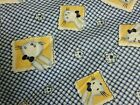 2 YDS BUNNY CHECKERS FLOWER Snuggle Cotton Flannel Fabric Blue  White baby boy