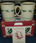 Longaberger USA Traditional Holly Pottery Mug / Pair 2 New in Box Retired