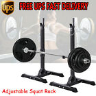 New Gym Squat Barbell Power Rack Stand Adjustable Press Weight Bench US
