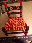 Vintage Child/Doll Red Hand Painted Flowers Folk Art  Chair I just rewove today