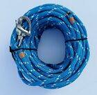 3 8 x 80 ft Dacron Polyester Halyard Spliced in S S Snap Shackle royal bl wh