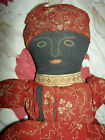 Early antique Americana TOPSY TURVY African American primitive cloth doll 12 1 2