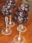 Elegant Vintage Amethyst cut glass glasses