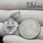 MEN 925 STERLING SILVER BLING SMALL LION KING HEAD CROWN PENDANTSP122