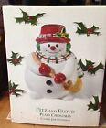 FITZ & FLOYD PLAID CHRISTMAS SNOWMAN COOKIE JAR W/LID - NIB