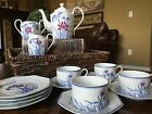 Fitz and Floyd Tea Set Teapot Tea Cup Saucer Luncheon Plate Creamer Lotus Bleu