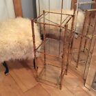 Vintage Mid Century Gilt Faux Bamboo Metal Glass Shelf Stand 3 Tiered Table