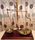 Antique Victorian Balance Scales Brass With Mahogany Base LARGE