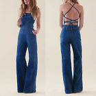 US 10 VINTAGE BACKLESS HIGH WAIST DENIM JEANS JUMPSUIT WID LEG PLAYSUIT ROMPERS