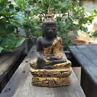 Antique Hand Carved Gold Painted Wooden Buddha Statue 9