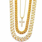 MENS MICRO CROSS 3 CHAINS SET GOLD FINISH MIAMI CUBAN LINK NECKLACE ICED OUT