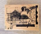 Club Scrap Rubber Stamp 2002 Limited Edition Build a Dream Romantic Wood Mount