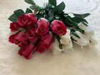 17 Pcs AFLORAL Silk Flower Pink White Rose Buds 225 Tall 15 Wide