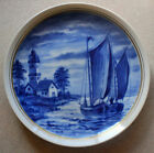Vintage German Wallendorf Cobalt Blue Sea Sail Boats Porcelain Decorator Plate