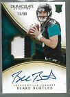 2014 Immaculate Blake Bortles On Card Auto 3 Color Jersey Patch Rc Serial # 99