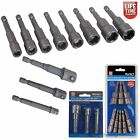 11pc Magnetic Nut Driver Set & Socket Adaptor Square Drive Fit Impact Drill