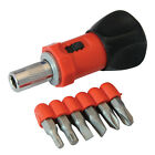 Stubby Ratchet Screwdriver & 6 Bit Set Slotted Phillips Torx 250488