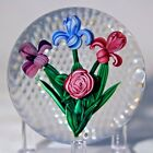 Beautiful RAY BANFORD Colorful Three FLOWERS Art Glass PAPERWEIGHT With BOX