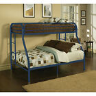 ACME Bunk Bed Eclipse Twin Over Full Metal Kids Bunk Bed Durable Ladder Blue
