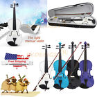 New Music 4/4 Full Size Natural Acoustic Wood Violin Fiddle +Case Bow +Bow+Rosin