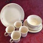 CORELLE CORNING ENGLISH BREAKFAST 20 piece set pink/salmon and blue floral bands