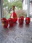 Vintage Laguna Murano Glass Decanter  6 Glasses Ruby Red 24 kt Gold w Sticker