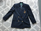 Ralph Lauren Polo Navy Blue wool Double Breasted Crest Blazer Jacket Wmns SZ 6