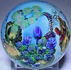 Stunning JOSH SIMPSON Colorful PLANET Art Glass PAPERWEIGHT