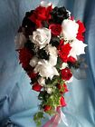 19 Piece Silk Flower Bridal wedding bouquet Package In White Red and Black Roses
