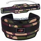 4FIT NEOPRENE DIPPING BELT WEIGHT LIFTING DIP BELT WITH METAL CHAIN GREEN CAMO