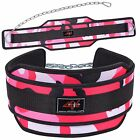 4FIT NEOPRENE DIPPING BELT WEIGHT LIFTING DIP BELT WITH METAL CHAIN PINK CAMO