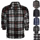 NEW MENS FLANNEL SHIRT LUMBER JACK CHECK PRINT WARM WORK ZIP FRONT TOP PLUS SIZE