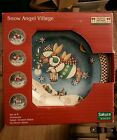 4 DEBBIE MUMM SNOW ANGEL VILLAGE STONEWARE 8 1/8