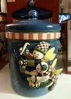 SNOWMAN Treat Jar/ Cookie Jar Debbie Mumm Snow Angel Village by Sakura HandPaint
