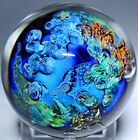 Spectacular JOSH SIMPSON Inhabited PLANET Series Art Glass PAPERWEIGHT