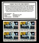 1969 FIRST MAN ON THE MOON  Mint Block of Four Vintage Postage Stamps