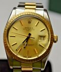 ROLEX 15053 OYSTER PERPETUAL DATE 1987 GOLD DIAL & BEZEL S/S & GOLD OYSTER BAND