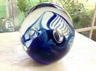 Large 1993 Eickholt BLUE PULLED FEATHER DICHROIC GLASS Paperweight 2  Bubbles
